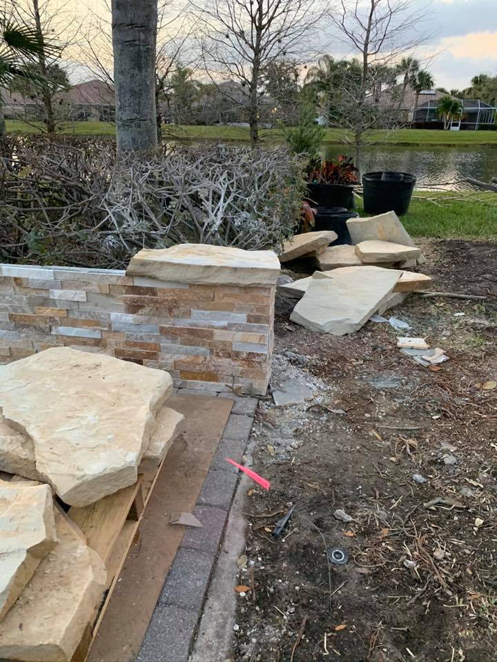 ledger wall and pavers